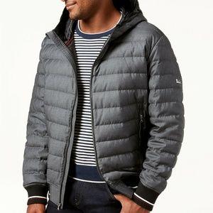 Michael Kors Puffer Jacket Down Hooded Gray Sz S